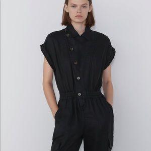 Zara Jumpsuit bloggers favorite button XS black